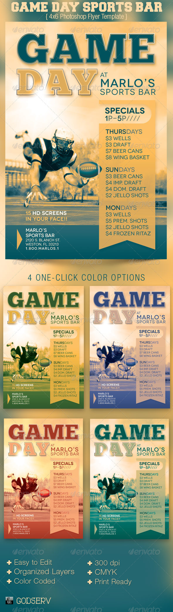 Game Day Sports Bar Flyer Template - Sports Events