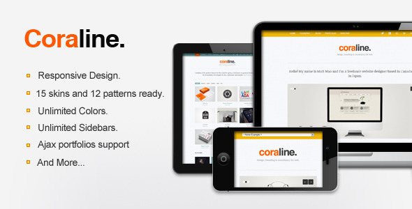 Coraline Ajax And Responsive WordPress Theme - The theme preview image.