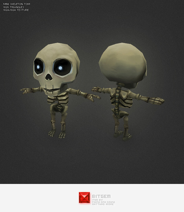 Low Poly Mini Skeleton Tom - 3DOcean Item for Sale
