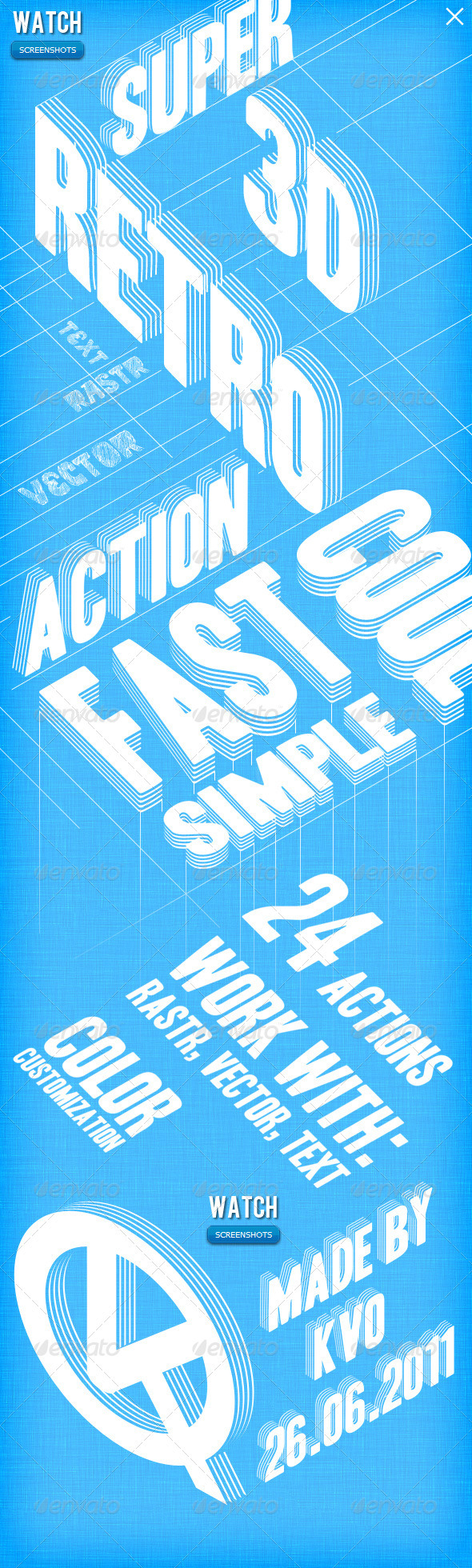 Retro 3D lines - Text Effects Actions