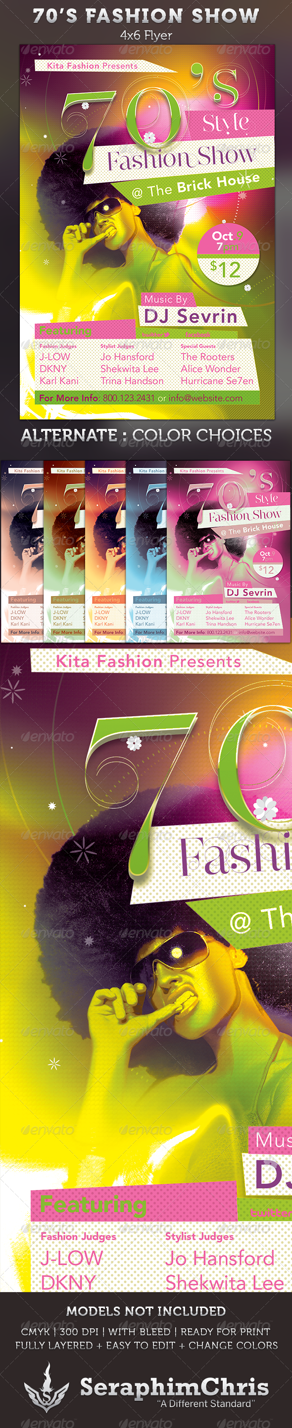 GraphicRiver 70's Fashion Show Flyer Template 3014274