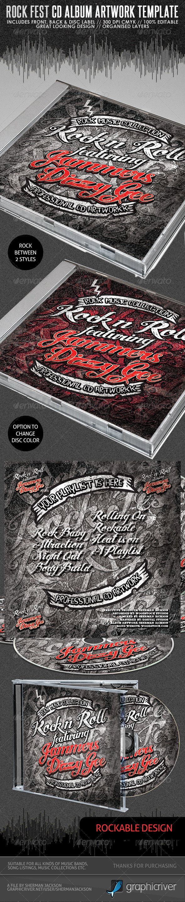 Rock Fest CD Artwork PSD Template - CD & DVD artwork Print Templates