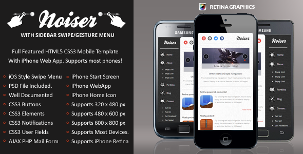 Noiser Mobile Retina | HTML5 & CSS3 And iWebApp