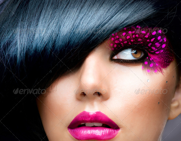 Fashion Brunette Model Portrait. Hairstyle - Stock Photo - Images