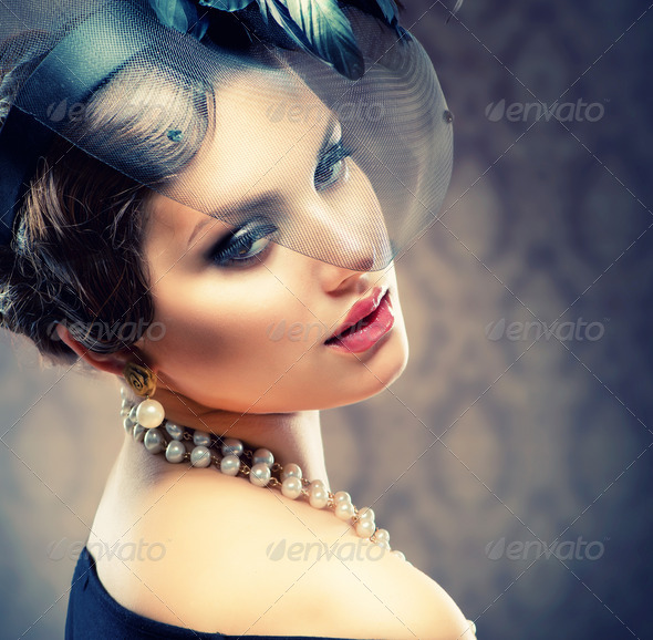 Retro Beauty Portrait. Vintage Styled. Beautiful Young Woman - Stock Photo - Images