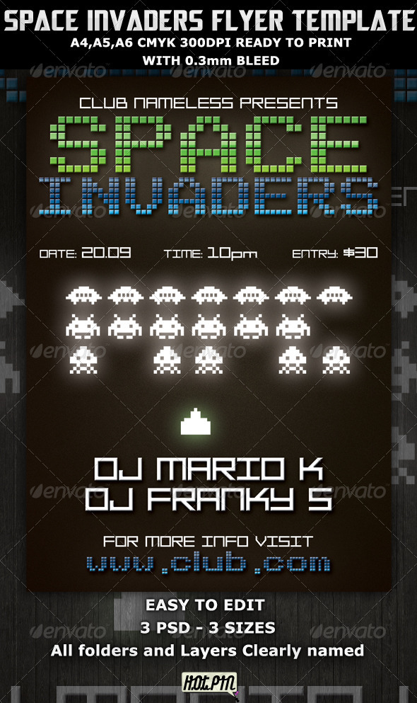 Space Invaders Party-Club Flyer Template  - Clubs & Parties Events