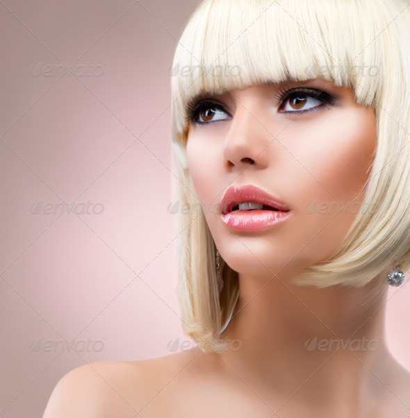 Fashion Blonde Woman Portrait. Blond Hair - Stock Photo - Images