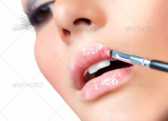 Professional Make-up. Lipgloss. Lipstick - Stock Photo - Images