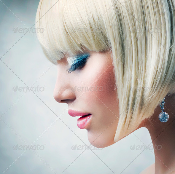 Haircut. Beautiful Girl with Healthy Short Blond Hair - Stock Photo - Images