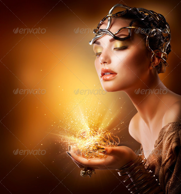 Fashion Girl Portrait. Golden Makeup - Stock Photo - Images
