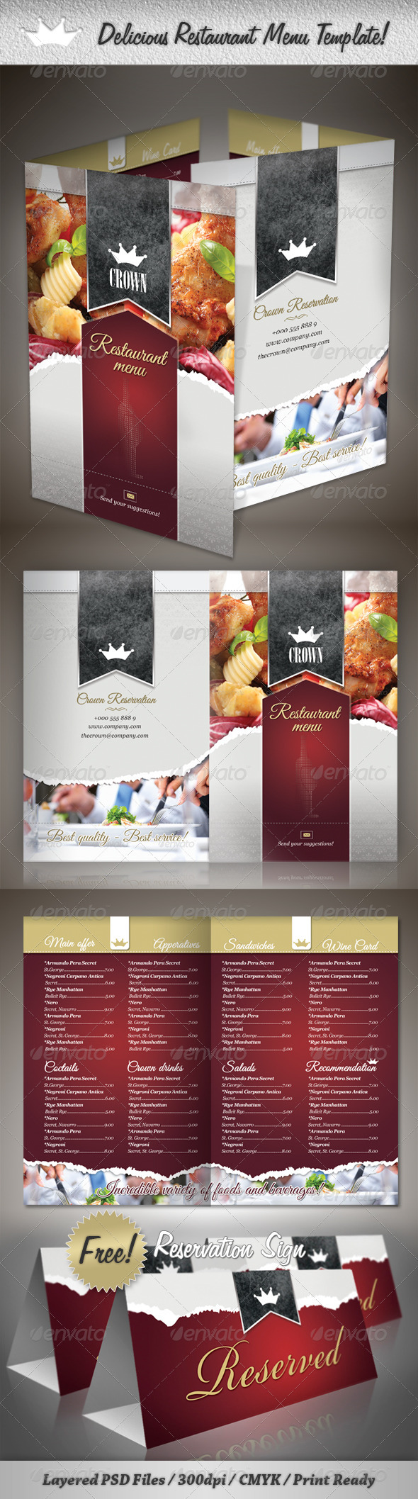 Delicious Restaurant Menu Template - Food Menus Print Templates
