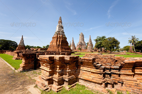 View of historical temple in ayutthaya thailand - Stock Photo - Images