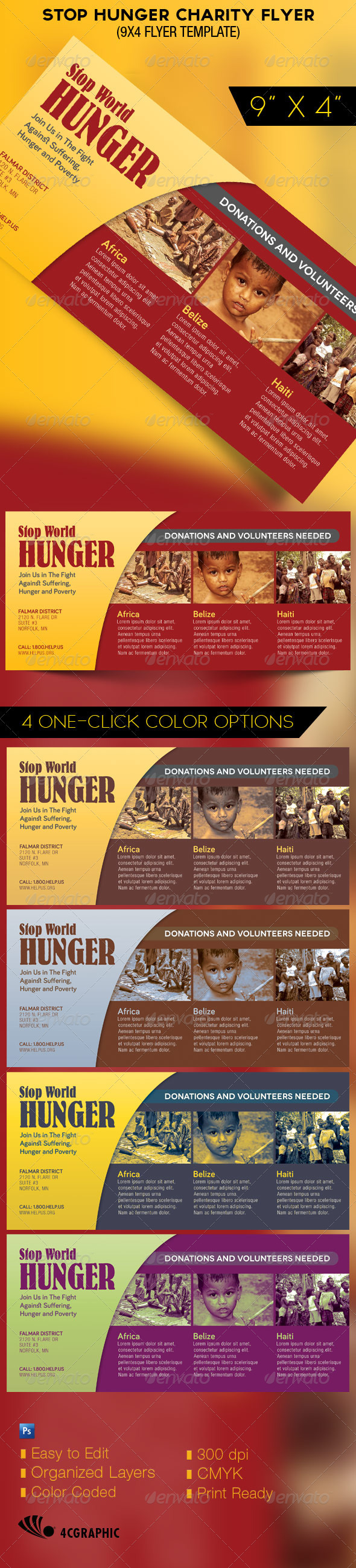 GraphicRiver Stop Hunger Charity Organization Flyer Template 3021830