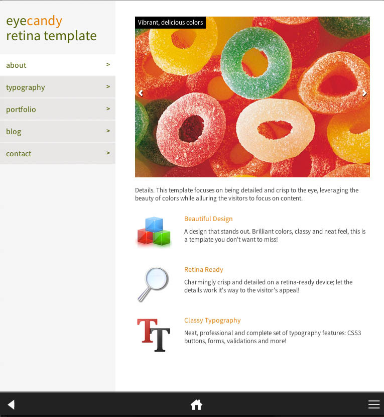 Eyecandy Retina-Ready Mobile Template