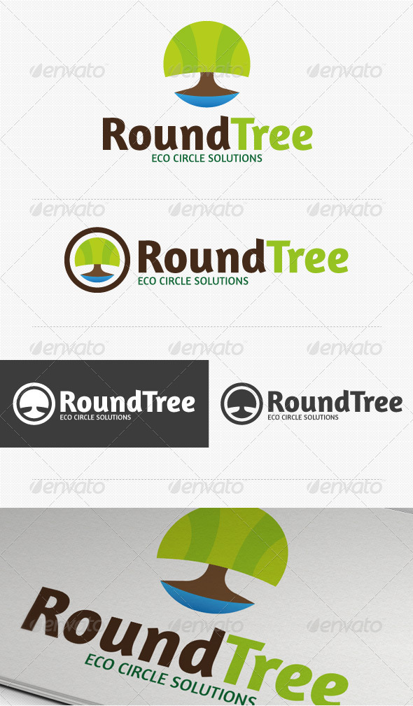 Round Tree Eco Logo - Nature Logo Templates