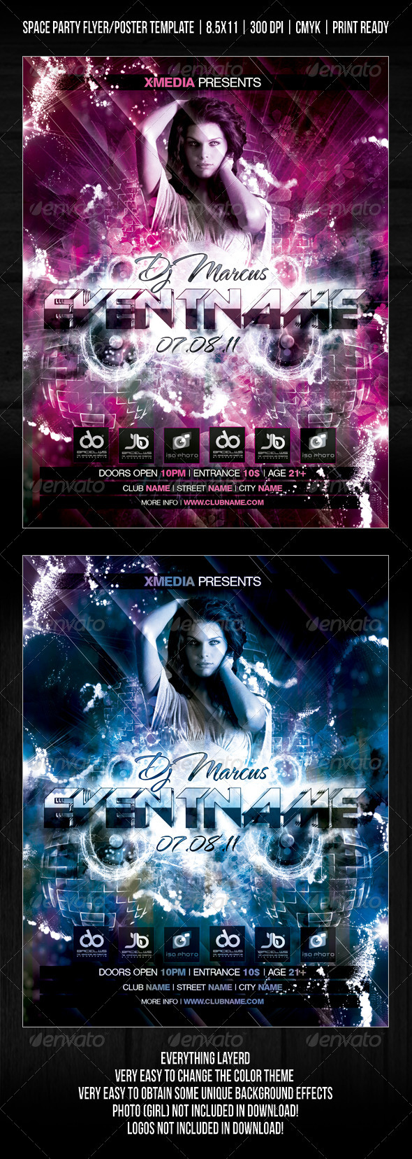 GraphicRiver Night Club Space Flowers Party Flyer Poster V2 310297