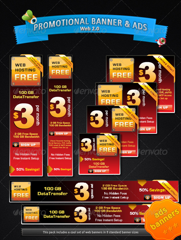 Web 2.0 Promotional Banner &amp; Ads  - Banners &amp; Ads Web Elements