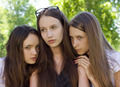 Three  Despondent Student Girl Outdoor - PhotoDune Item for Sale