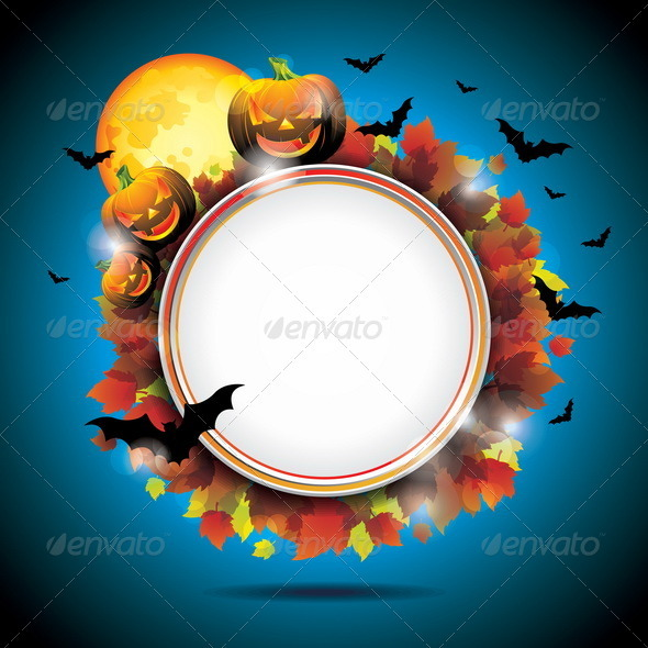 Vector Halloween Party Background with Pumpkins. - Halloween Seasons/Holidays