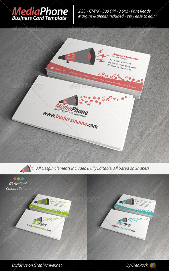 MediaPhone Business Card Template - Creative Business Cards