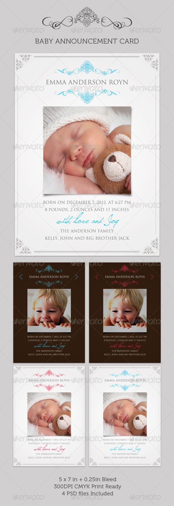 Boy/Girl Baby Announcement Card 02 - Family Cards & Invites