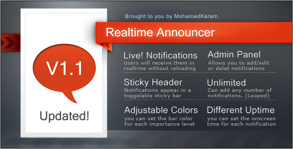 Realtime Announcements bar /no reloading required - CodeCanyon Item for Sale