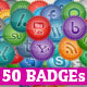 50 Elegant Social Badges - GraphicRiver Item for Sale