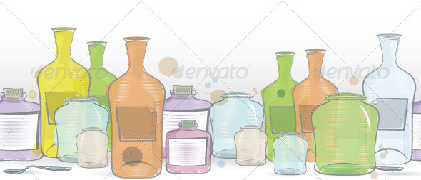 Water Color Jars Border Vector - Textures / Fills / Patterns Illustrator
