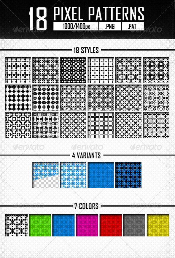 18 Pixel Patterns - Abstract Textures / Fills / Patterns