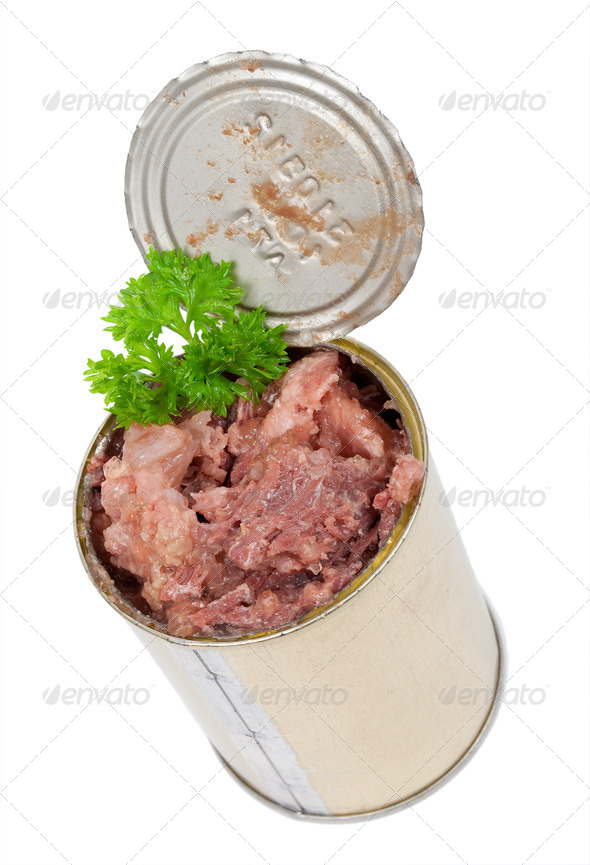 Canned meat with parsley - Stock Photo - Images
