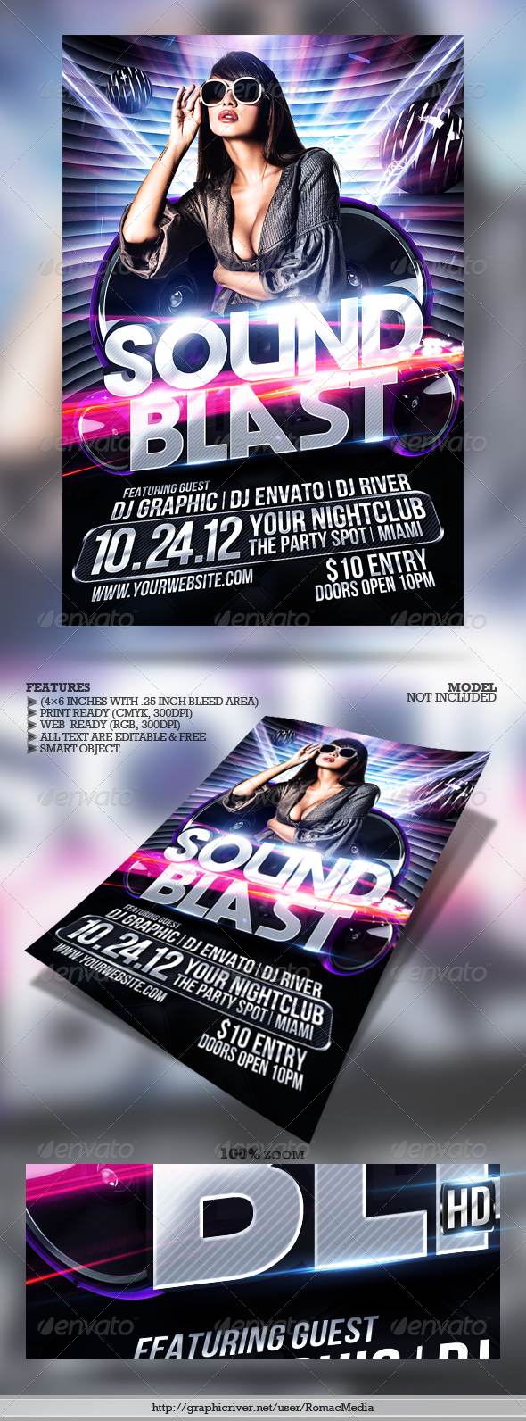 Club Sessions l Sound Blast Party Flyer - Clubs & Parties Events