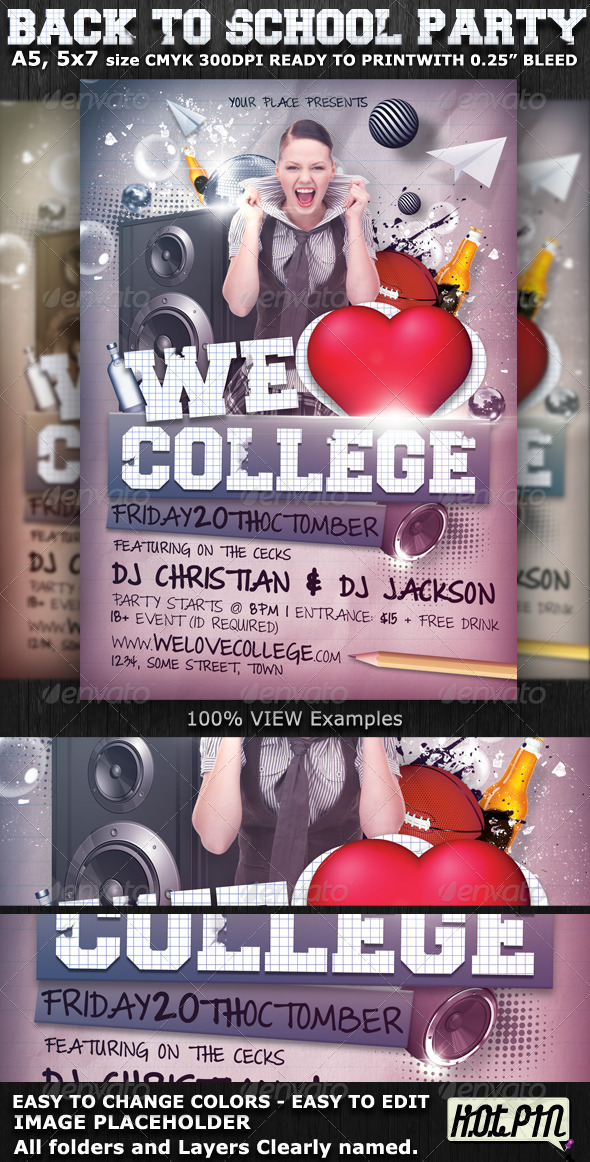 We Love College Party Flyer Template - Clubs & Parties Events