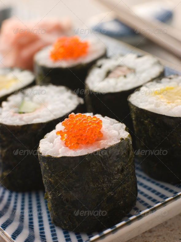 Small Rolled Sushi on a Plate - Stock Photo - Images