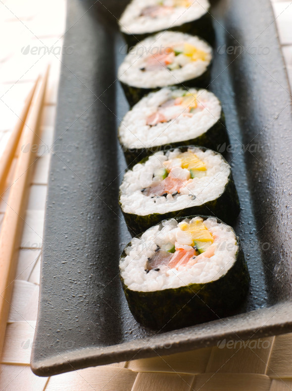 Large Spiral Rolled Sushi - Stock Photo - Images