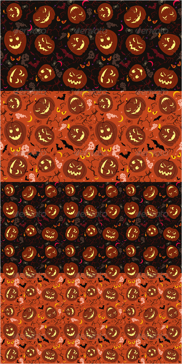 Halloween Pumpkins Seamless Patterns - Miscellaneous Textures / Fills / Patterns