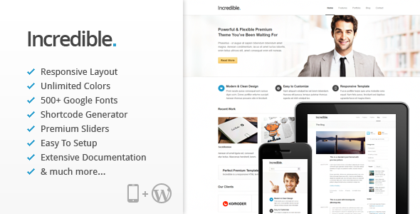 Incredible - Responsive WordPress Theme - Corporate WordPress