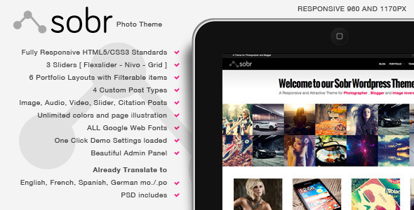Sobr - Responsive Photo Wordpress Theme - Creative WordPress
