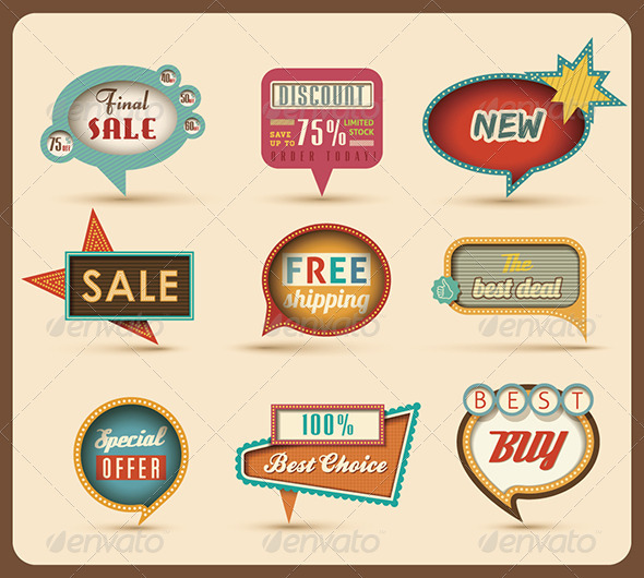 GraphicRiver The new retro speech bubbles signs collection 3037034