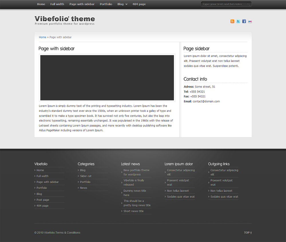 Vibefolio - Page with sidebar