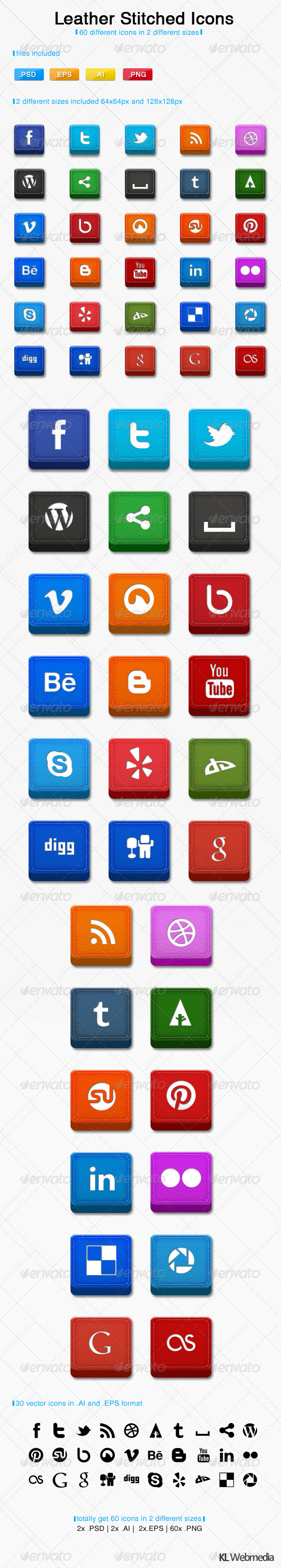 GraphicRiver Leather Stitched Social Icons 3035833