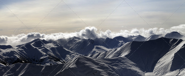 Panorama of mountains at sunset - Stock Photo - Images