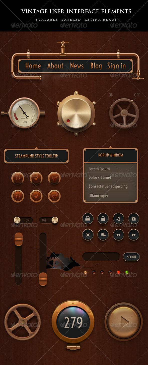 Vintage Steampunk UI Set - User Interfaces Web Elements