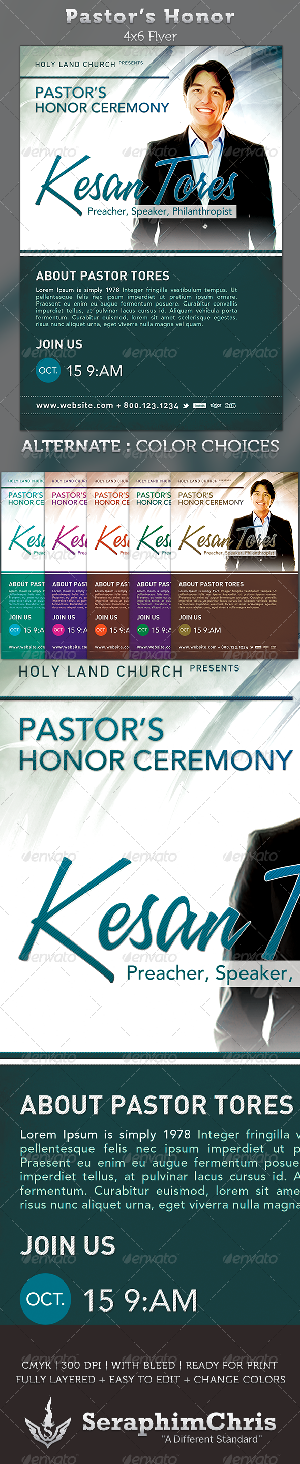 Pastor&#x27;s Honor: Church Flyer Template - Church Flyers