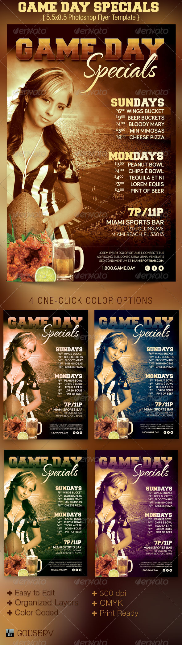 Game Day Specials Flyer Template - Sports Events