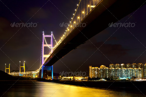 Tsing Ma Bridge at Hongkong - Stock Photo - Images