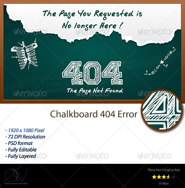 Chalkboard 404 Error Web Page - 404 Pages Web Elements