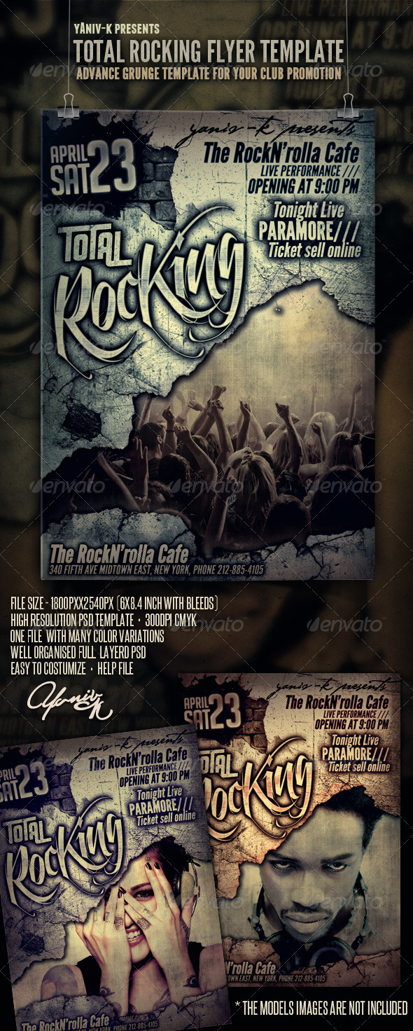Total Rocking Flyer Template - Clubs &amp; Parties Events