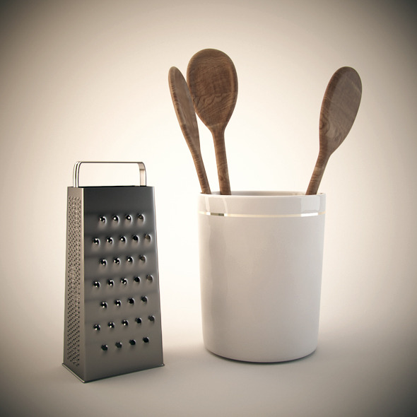 Wooden spoon and steel grater - 3DOcean Item for Sale