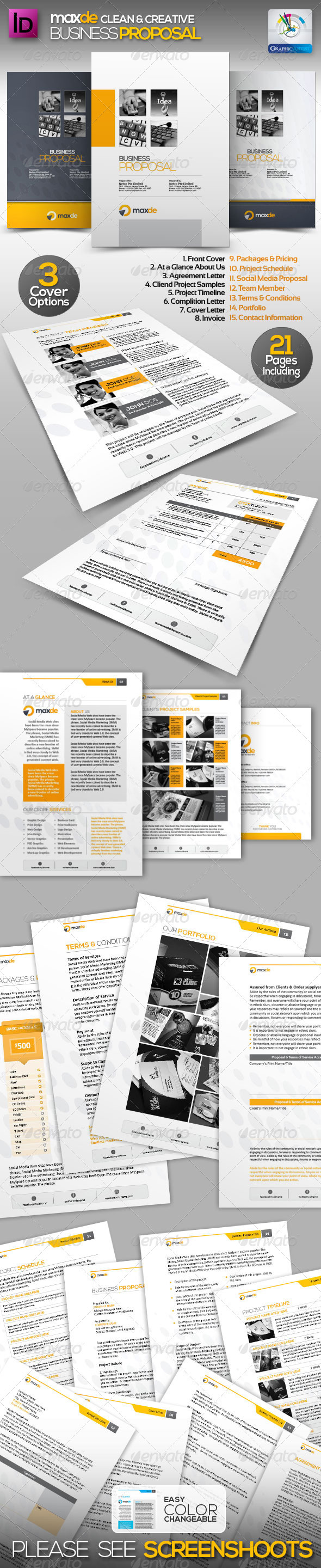 Maxde Clean Business Proposal - Proposals & Invoices Stationery