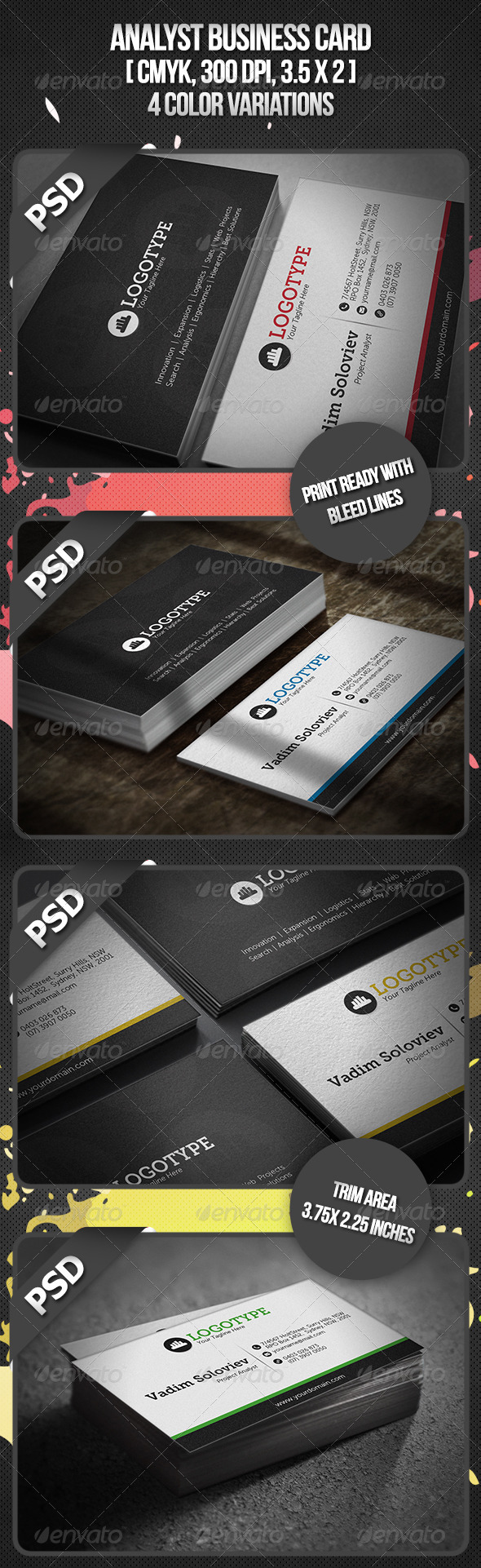 Analyst Business Card - Business Cards Print Templates